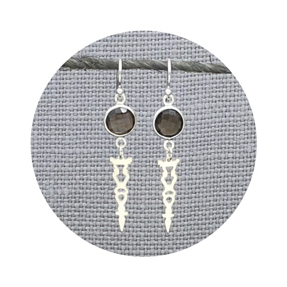 Auditorium Checkerboard Smoky Quartz Earrings in Sterling Silver - Victorian Details Architectural Collection - the Village of Round Lake