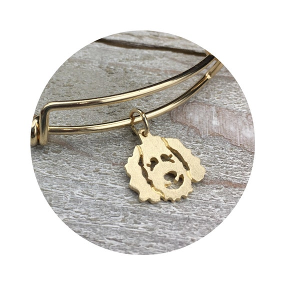 Clyde Goldendoodle - Labradoodle Dog in 14k Yellow Gold on Adjustable Gold Filled Bangle Bracelet