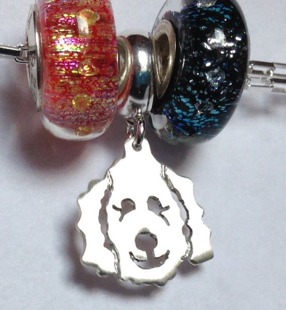Clyde Goldendoodle - Labradoodle Dog Dangle Charm Bead fits popular bead bracelets in Sterling Silver