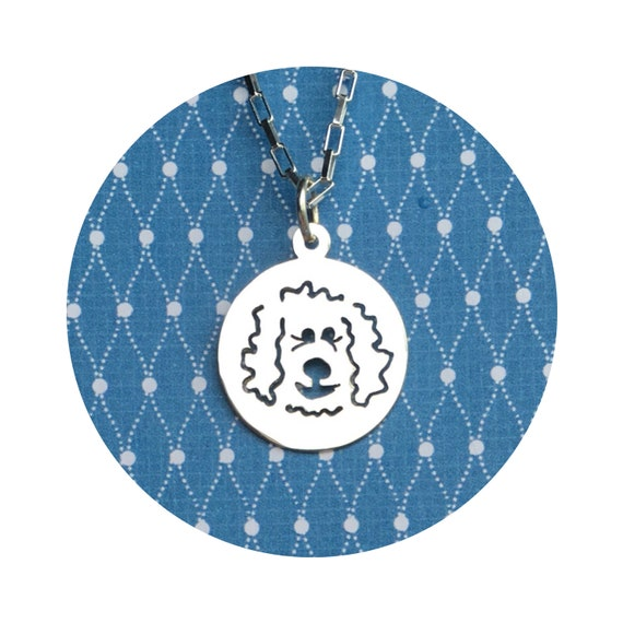 Doodle Dog Disc Goldendoodle - Labradoodle Dangle Charm / Pendant - in Sterling Silver