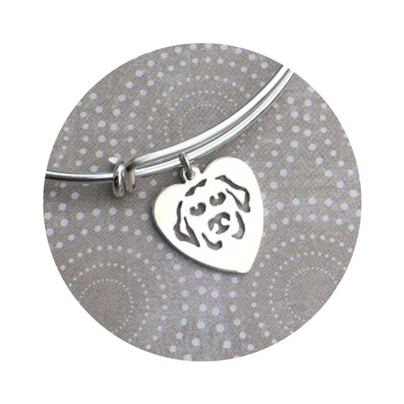 I Love My Labrador Retriever Dog Heart Adjustable Bangle Bracelet - in Sterling Silver