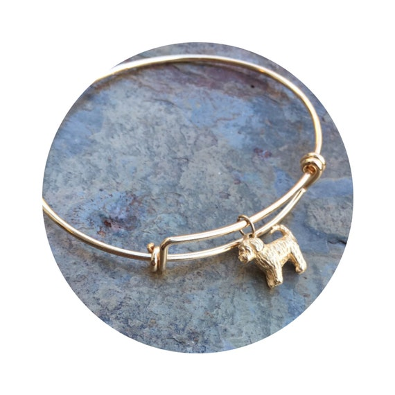 Travis Goldendoodle - Labradoodle Dog in 14k Yellow Gold on Adjustable Gold Filled Bangle Bracelet