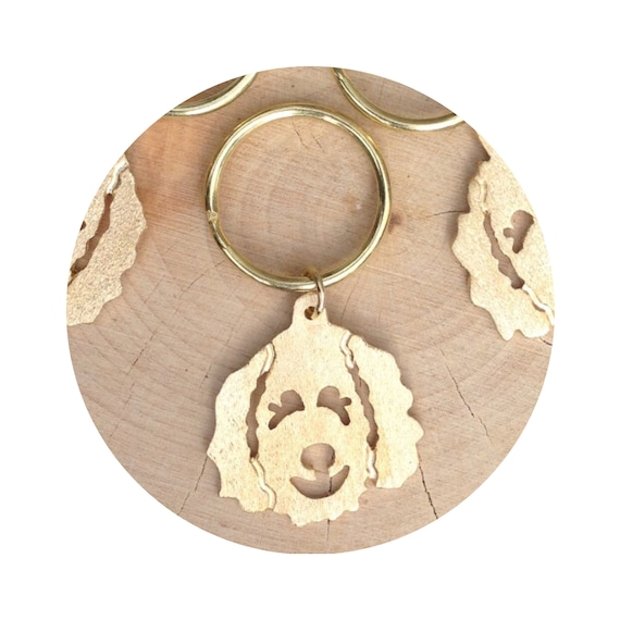 A Doodle Dog Holds the Key to my Heart Keychain in Brass - Goldendoodle - Labradoodle