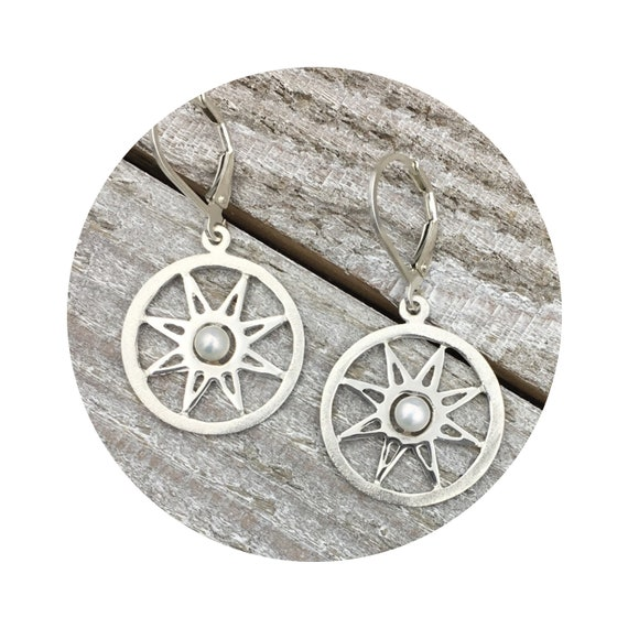 Pearl Star Earrings in Sterling Silver - the Victorian Details Architectural Collection - the Village of Round Lake