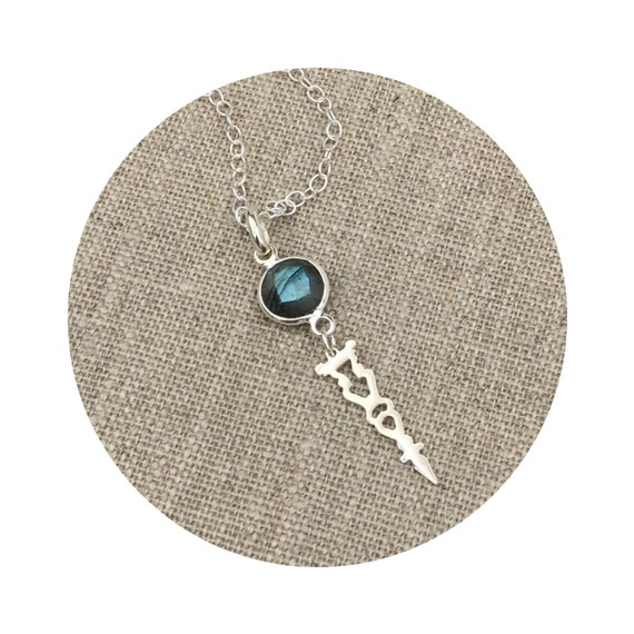 Faceted Labradorite Stone Drop Pendant in Sterling Silver Inspired By Victorian Architecture – The Round Lake Collection