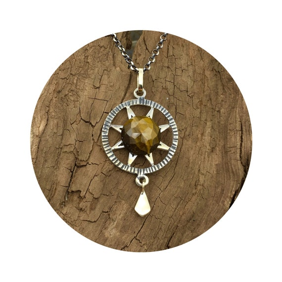 Tiger Eye Sun Star Pendant in Sterling Silver & 14k - the Victorian Details Architectural Collection - the Village of Round Lake