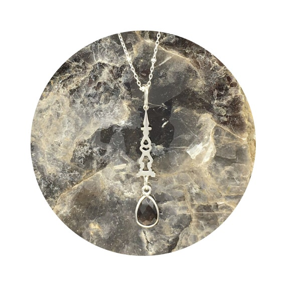 Auditorium Checkerboard Smoky Quartz Drop Pendant in Sterling Silver Inspired By Victorian Architecture – The Round Lake Collection