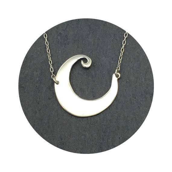 Whimsical Crescent Moon Necklace in Sterling Silver