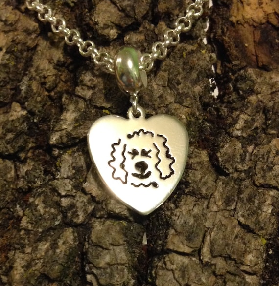 I Love My Goldendoodle - Labradoodle Dog Heart Dangle Charm Bead fits popular bead bracelets - in Sterling Silver
