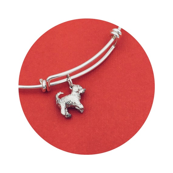 Travis Goldendoodle - Labradoodle Dog Adjustable Bangle Bracelet in Sterling Silver