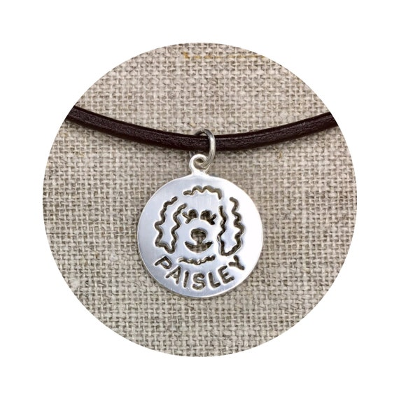 Custom Name Goldendoodle - Labradoodle Dog Pendant / Charm - up to 7 letters in Sterling Silver
