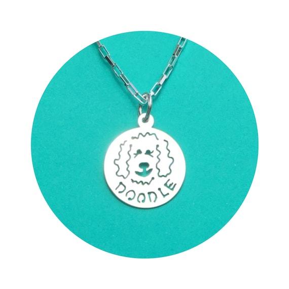 Pendant DOODLE Dog Disc - Goldendoodle - Labradoodle Necklace - in Sterling Silver