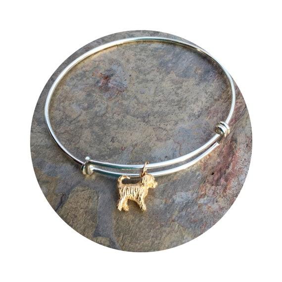 Travis Goldendoodle - Labradoodle Dog in 14k Yellow Gold on Adjustable Silver Bangle Bracelet