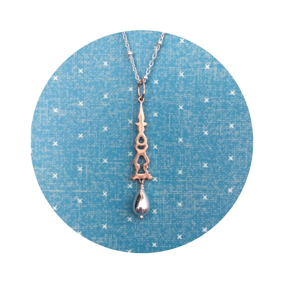 Auditorium Pendant in 14K Rose Gold and Silver - Victorian Details Architectural Collection - the Village of Round Lake