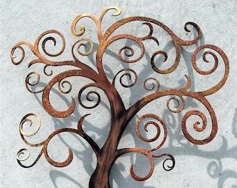 Swirly Tree of Life Metal Wall Art
