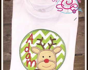Personalized Reindeer Patch Christmas Shirt/Bodysuit