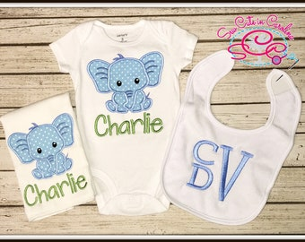 Personalized Elephant Themed Baby Gift Set