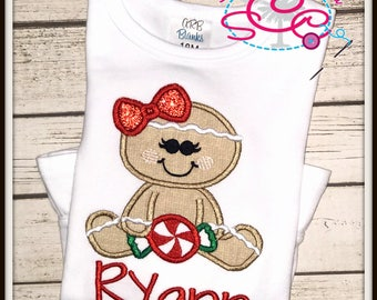 Personalized Gingerbread Girl Shirt/Bodysuit, Gingerbread Girl, Christmas Shirt