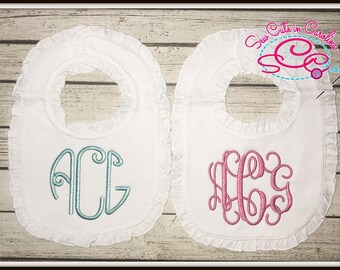 Set of 2 Personalized Boutique Ruffle Bibs