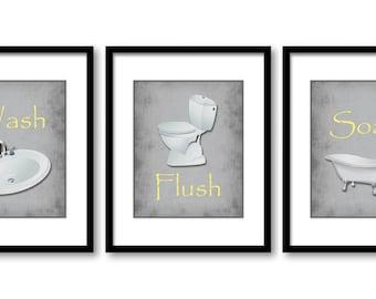 Yellow Gray Bathroom Etsy