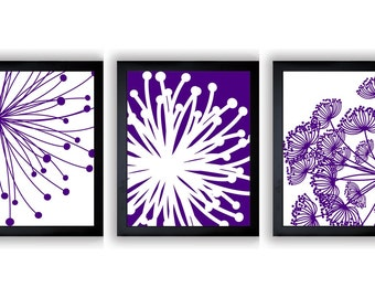 Royal Purple Home Decor Wall Art Flower Print Flowers Dandelion Set Of 3  Art Prints Wall Decor Bathroom Decor Modern Minimalist
