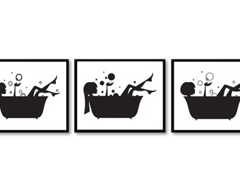 Bathroom Wall Decor Print Black White In A Bathtub Tub Set Of 3 Art Prints
