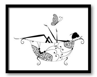Black White Bathroom Decor Print Silhouette Butterfly Girl In A Bathtub Tub Art Prints Wall Modern Minimalist