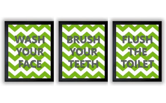 lime green grey gray bathroom decor bathroom print set of 3