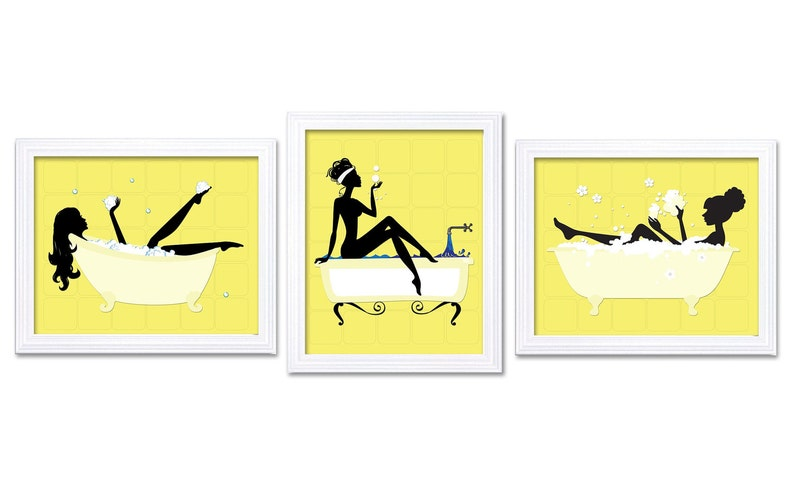 Tremendous Yellow Black White Bathroom Wall Decor Bathroom Print Wall Art Bathtub Tub Set Of 3 Art Prints Bathroom Decor Square Download Free Architecture Designs Lukepmadebymaigaardcom