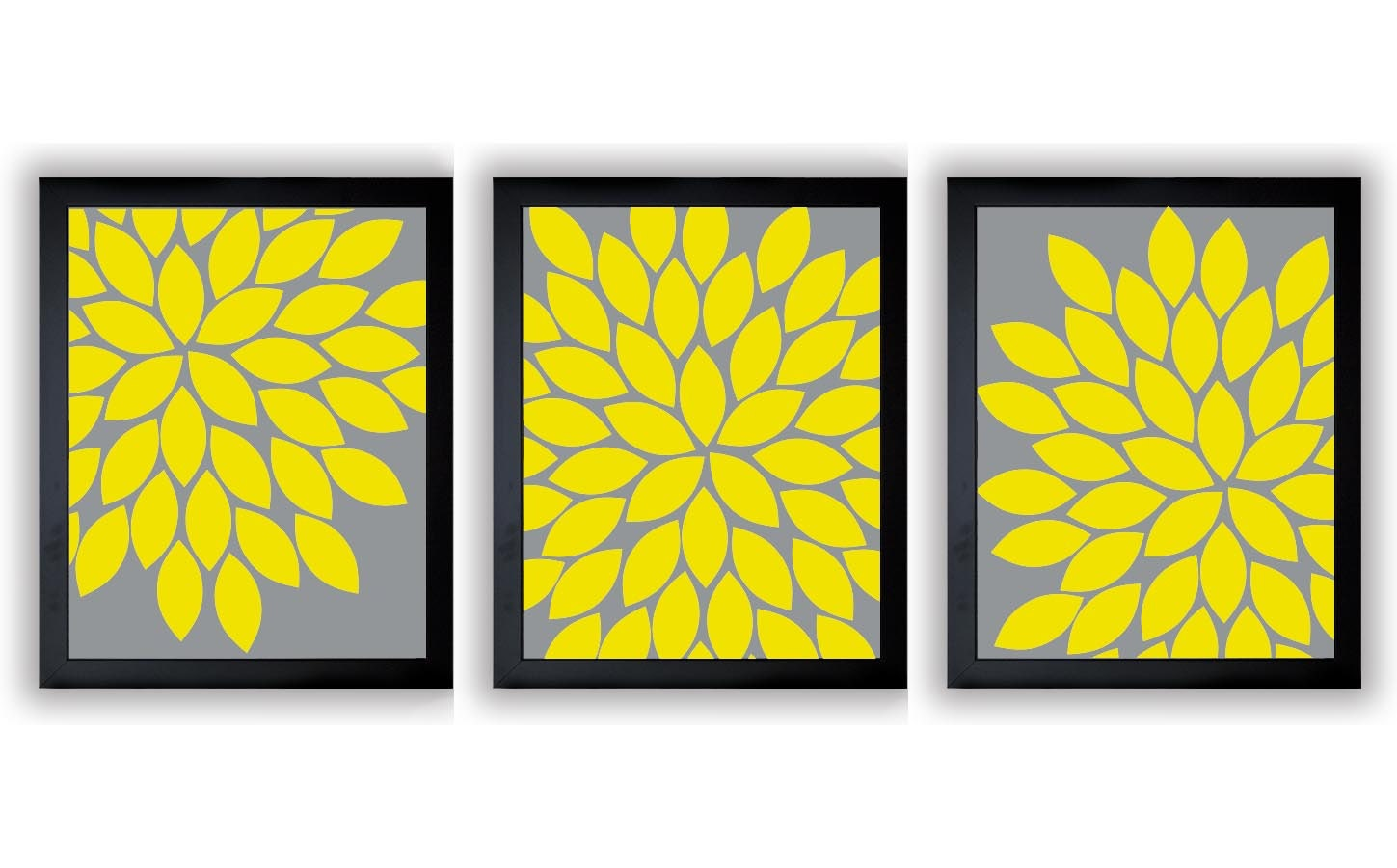 Flower Print Bright Yellow Grey Gray Chrysanthemum Flower Set | Etsy