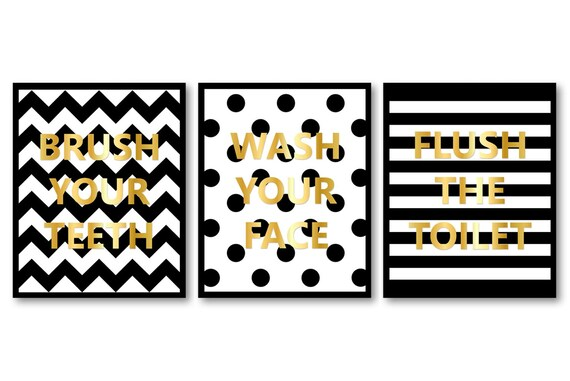 Black White Gold Bathroom Decor Bathroom Print Set Of 3 Brush Etsy
