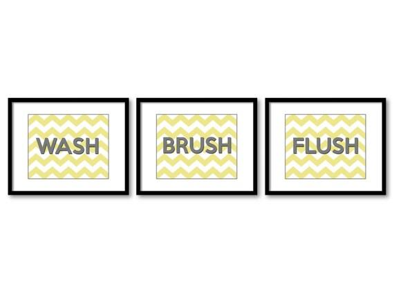 Strange Bathroom Decor Bathroom Print Grey Gray Yellow Bathroom Art Print Set Of 3 Wash Brush Flush Wall Decor Interior Design Ideas Jittwwsoteloinfo
