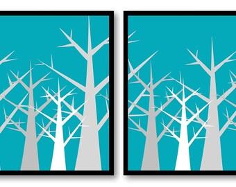 Tree Print Tree Wall Decor Grey and Blue Turquoise Trees Abstract Tree Art Print Set of 2 Bathroom Modern Minimalist