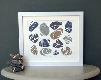 Pebbles print - Cornish Pebbles print - pebbles art - Cornwall beach art - St Piran's Pebbles -  seaside art - beach art - alisonbick
