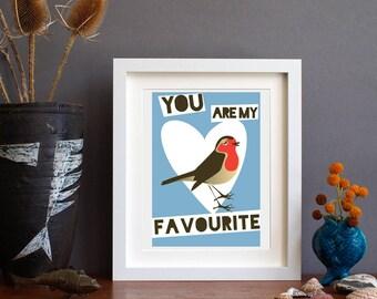 Robin art print - Bird lover art print - Robin art - robin print - Britain's Favourite Bird - Robin red breast - Alison Bick - Alisonbick