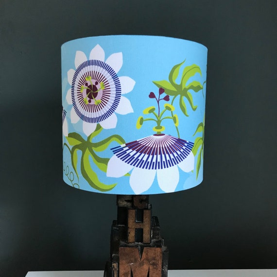 Blue Floral Lampshade Passiflora Passionflower By Designer Etsy