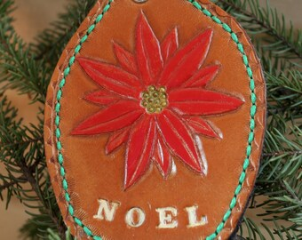 Handmade Leather Tree Ornament - Poinsettia