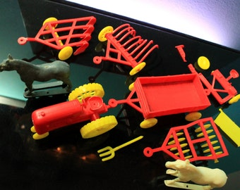 Andy Gard Farm Set Tractor Implements Vintage Plastic Playset