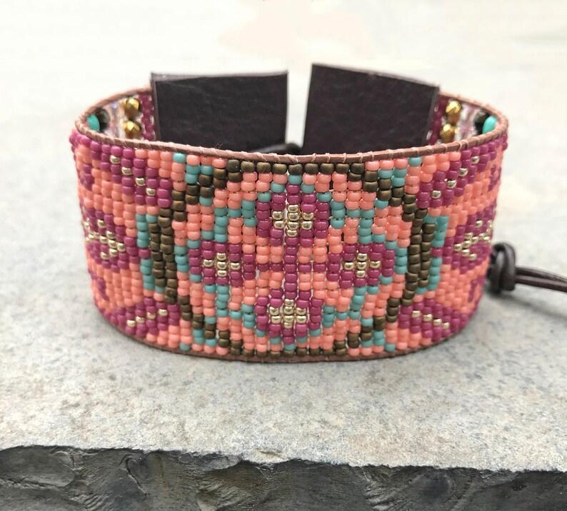 aztec southwestern friendship cuff seed bead tribal boho Beaded woven loom flower leather bracelet