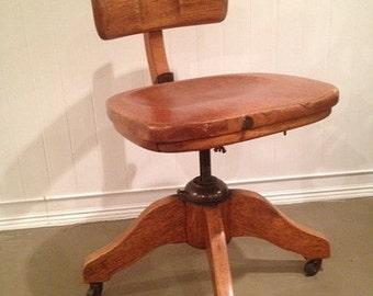 56a808bfc18e Antique Murphy Office Desk banker Chair - Tiger Oak - Solid Wood - Swivel -  Reclining - Adjustable - on wheels - Vintage