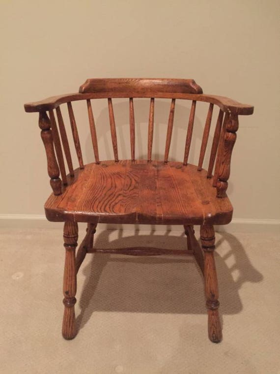 image 0 - Antique Solid Oak Wood Captain's Chair Very Nice Etsy