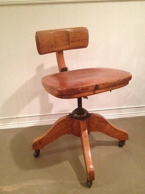 image 0 - Antique Murphy Office Desk Banker Chair Tiger Oak Solid Etsy