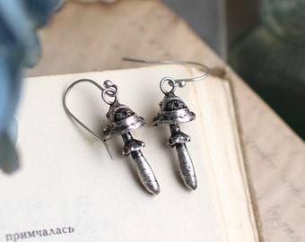Magic mushroom earrings, silver mushroom earrings