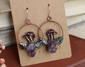 Cottagecore jewelry, mushrooms earrings, raw amethyst earrings