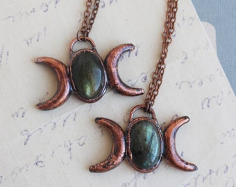 Triple goddess necklace Moon phase necklace Wicca jewelry Crescent moon Witch jewelry Labradorite pendant Triple moon jewelry Pagan moon