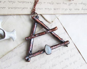Air symbol necklace Air element alchemy Wicca jewelry Witchcraft pendant Moonstone witch Air sign necklace Pagan jewelry Alchemy necklace