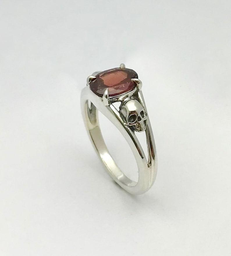 Garnet and Skull Ring