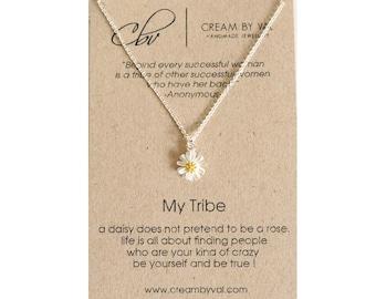 My Tribe Necklace - Silver Daisy Necklace Best Friend Gift Celebrate Friendship Love My Bride Tribe Jewelry Tribal Necklace Sorority Sister