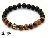 Stretch bracelet with tiger eye, lava rock 8mm and buddha head