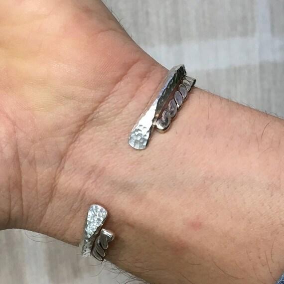 Bracelet jonc martelé en Argent 925 forme triangle Bijou homme